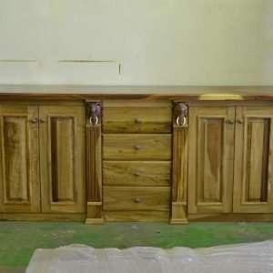Wood Sideboard Black wood African Style