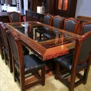 12 Person Glass Middle Table Black Wood