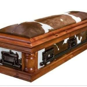 Personalized Leather covered coffin