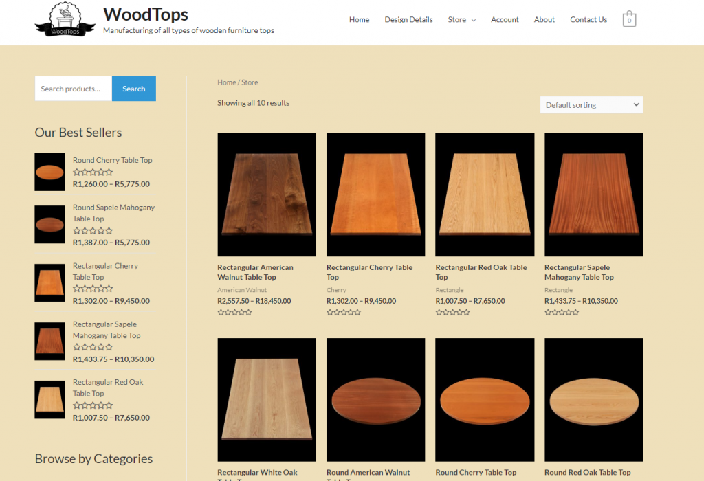 Wooden Tops Website Page
