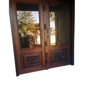 Double semi engraved wooden door