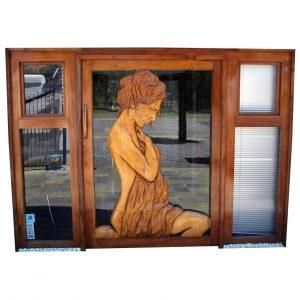 Wooden Women Engraved Pivot Door